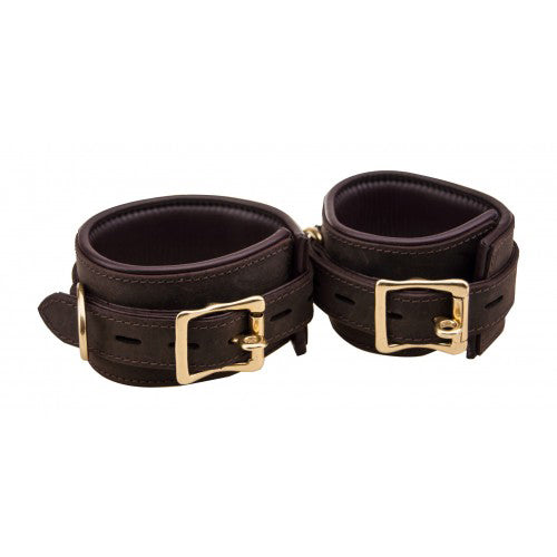 Bound Nubuck Leather Ankle Cuffs