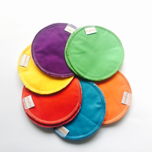 Breast pad made with bamboo, cotton and PUL (1 pair) all colours are pictured