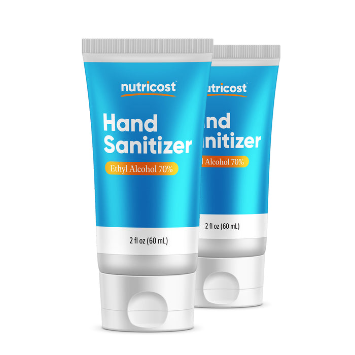 Nutricost Hand Sanitizer 2oz Gel (2 Pack) - 70% Ethyl Alcohol, No Added Fragrance - Convenient Personal Size