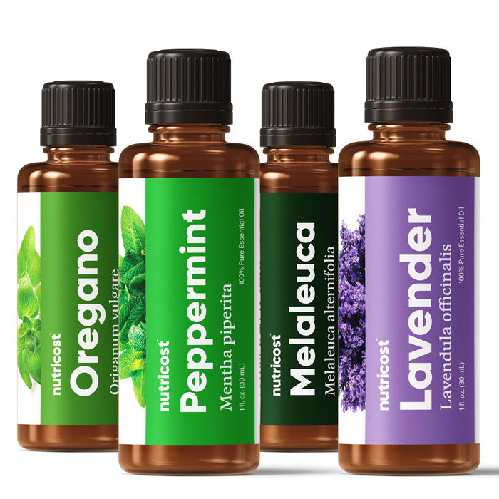 Nutricost Essential Oils Variety Pack (4 Count) - Lavender, Peppermint, Melaleuca, Oregano