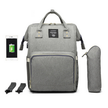 Load image into Gallery viewer, Diaper-Backpack-Bag-Large-Capacity-Bag-Mom-Baby-Multi-function-Waterproof-Outdoor-Travel-Diaper-Bags-Grey-Color