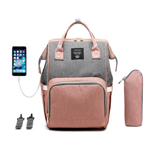 Diaper-Backpack-Bag-Large-Capacity-Bag-Mom-Baby-Multi-function-Waterproof-Outdoor-Travel-Diaper-Bags-Grey-With-Pink