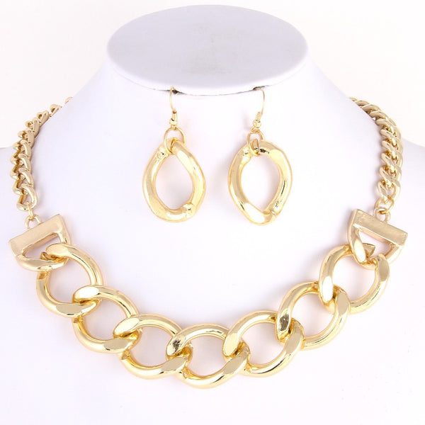 Chain Curb Collar Necklace/Earrings Set - MeTimeBoutique