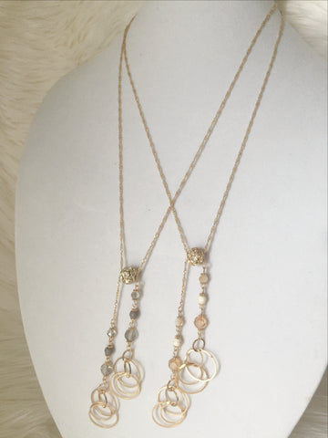 Aya Double Pendant Necklace - Beige or Gray - MeTimeBoutique