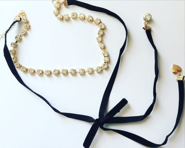 Kiki Rhinestone Bow Strings Choker  Necklace - MeTimeBoutique