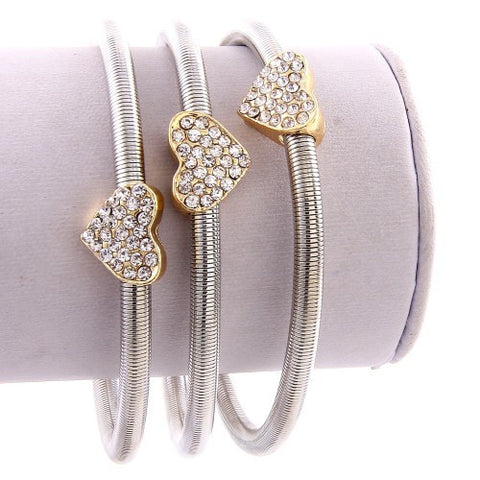 3 Pcs Heart Pave Magnetic Stretch Bracelet - Gold or Silver - MeTimeBoutique