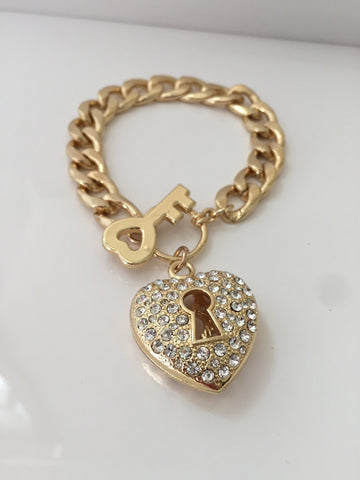 Key to My Heart Gold Bracelet
