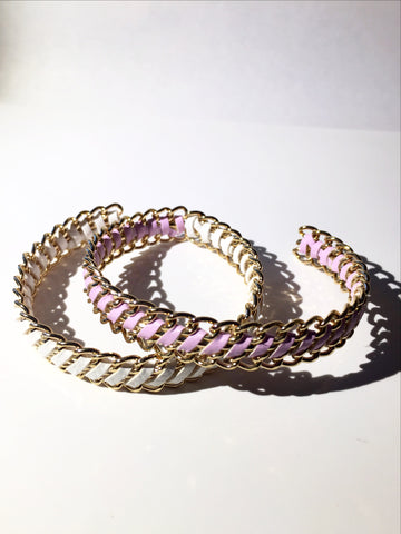 Gold Open Cuff Bangle Bracelet - Lavender or White Suede - MeTimeBoutique