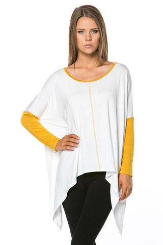 Color Block Mustard Top - MeTimeBoutique