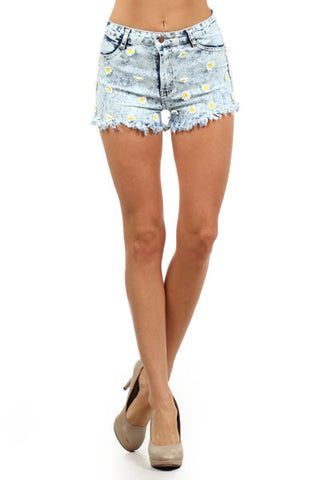 Daisy High Waisted Shorts - Light Wash - MeTimeBoutique