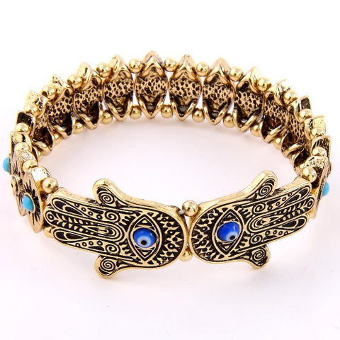 Evil Eye Hamsa Hand Stretch Bracelet Silver or Antique Gold - MeTimeBoutique
