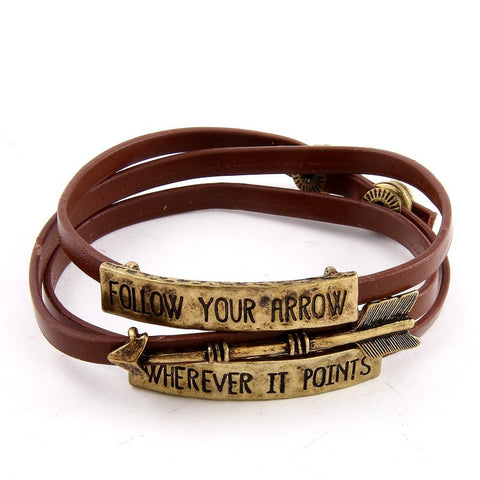 Follow Your Arrow Wherever It Points Faux Suede Folded Bracelet - Black or Brown - MeTimeBoutique