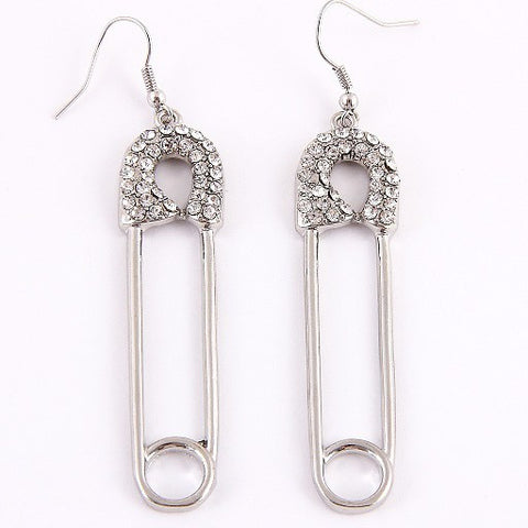 Hook Safety Pins Earrings - Gold or Silver