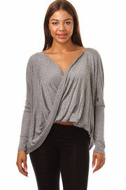 Long Sleeve Double Drape Top - MeTimeBoutique