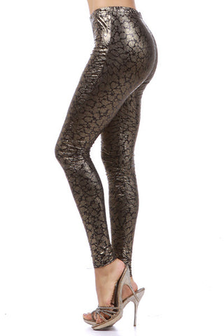 Metallic Funky Bubble Print Leggings