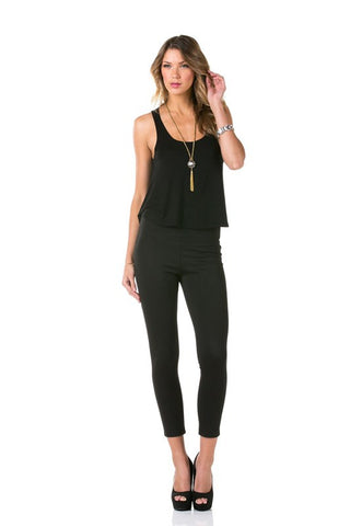 Cutout Flare Top Jersey Jumpsuit - MeTimeBoutique