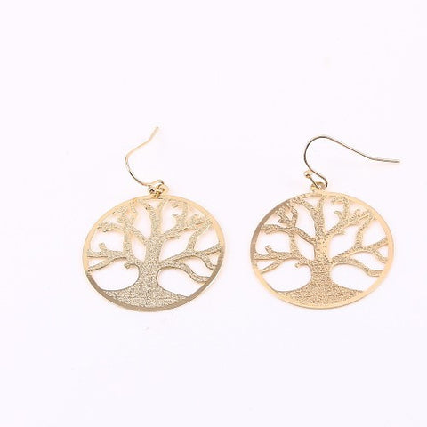 Tree of Life Hook Earrings Gold or Silver - MeTimeBoutique