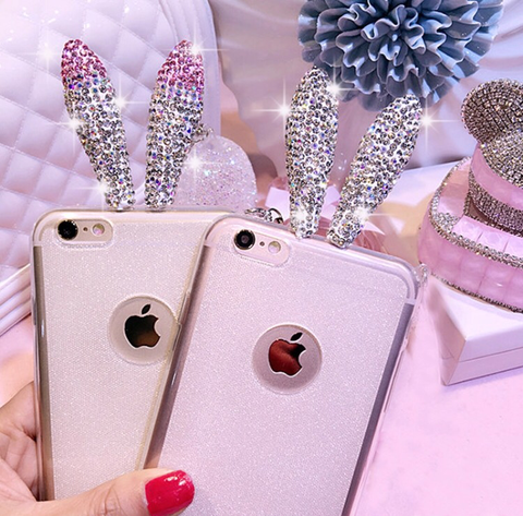 Diamond Bunny Ears iPhone 6 Case - Pink or White - MeTimeBoutique