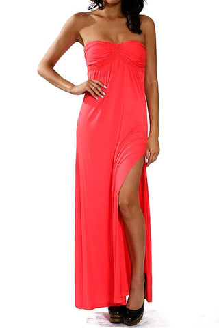 Coral Long Strapless Maxi Dress - MeTimeBoutique