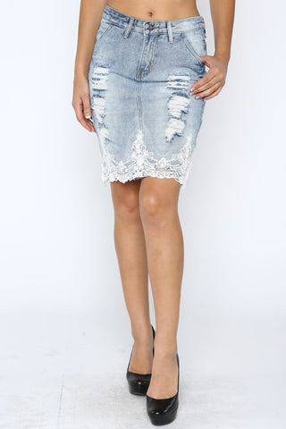 Denim Distressed Skirt - MeTimeBoutique