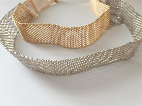 Parker Mesh Choker - Silver or Gold