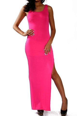 Hot Pink Maxi Tank Dress - MeTimeBoutique