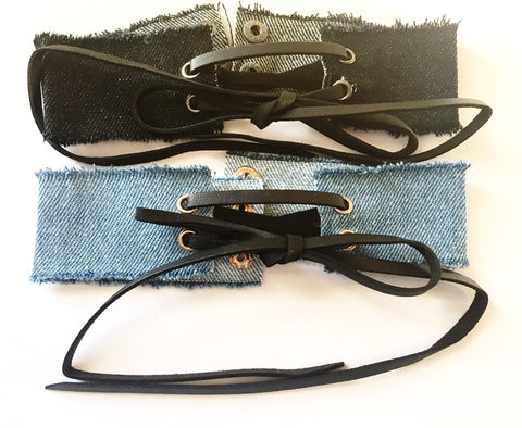 Vintage Denim Lace Up  (Blue or Black)