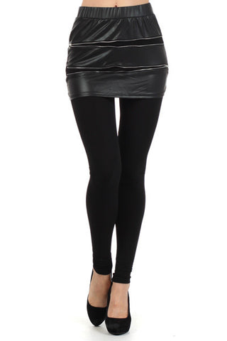 Faux Zipper Mini Skirt Leggings - MeTimeBoutique