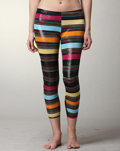 Metallic Striped Leggings - MeTimeBoutique