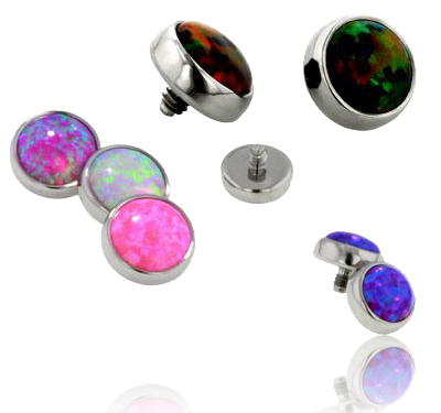 Titanium Bezel Set Opal Threaded Attachment