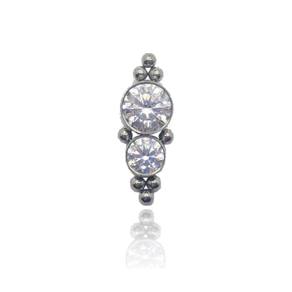 Haute Couture Titanium Two Gem Threaded Attachment