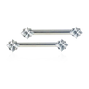 Side Set Gem Barbell - 3mm Princess Cut Gem