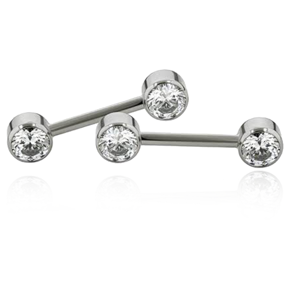 Side Set Gem Barbell - 4mm Bezel Set Gems