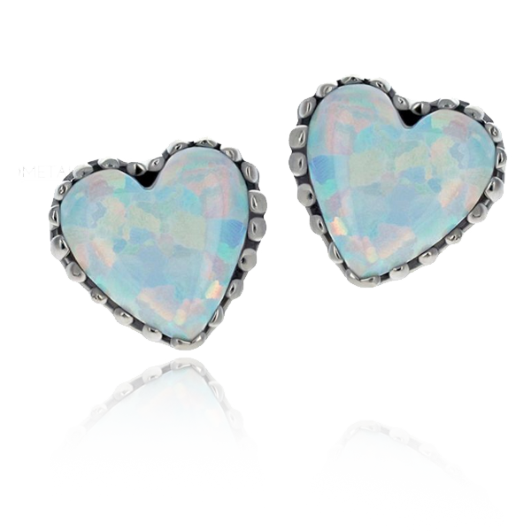 18k Gold Opal Heart Threaded Attachments