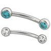 Titanium Threadless Gem Curved Barbell
