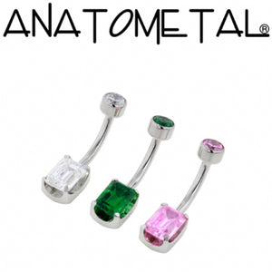Titanium Emerald Cut Navel Curve