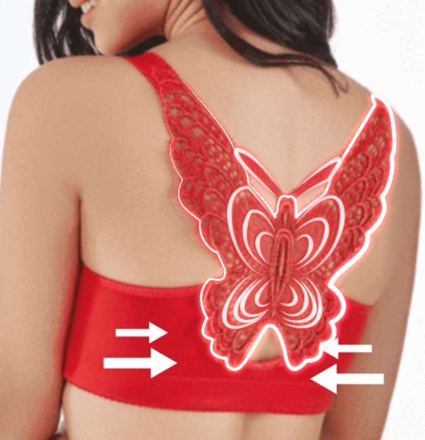 Butterfly Embroidery Front Closure Push-Up Gather Wireless Bras