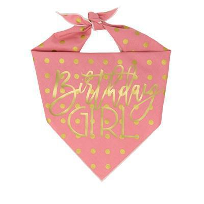 Birthday Girl Bandana Pink with gold foil