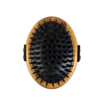Bamboo Groom Curry Brush with rubber bristles