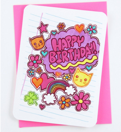 Cat Rainbow Stickers - Notecard