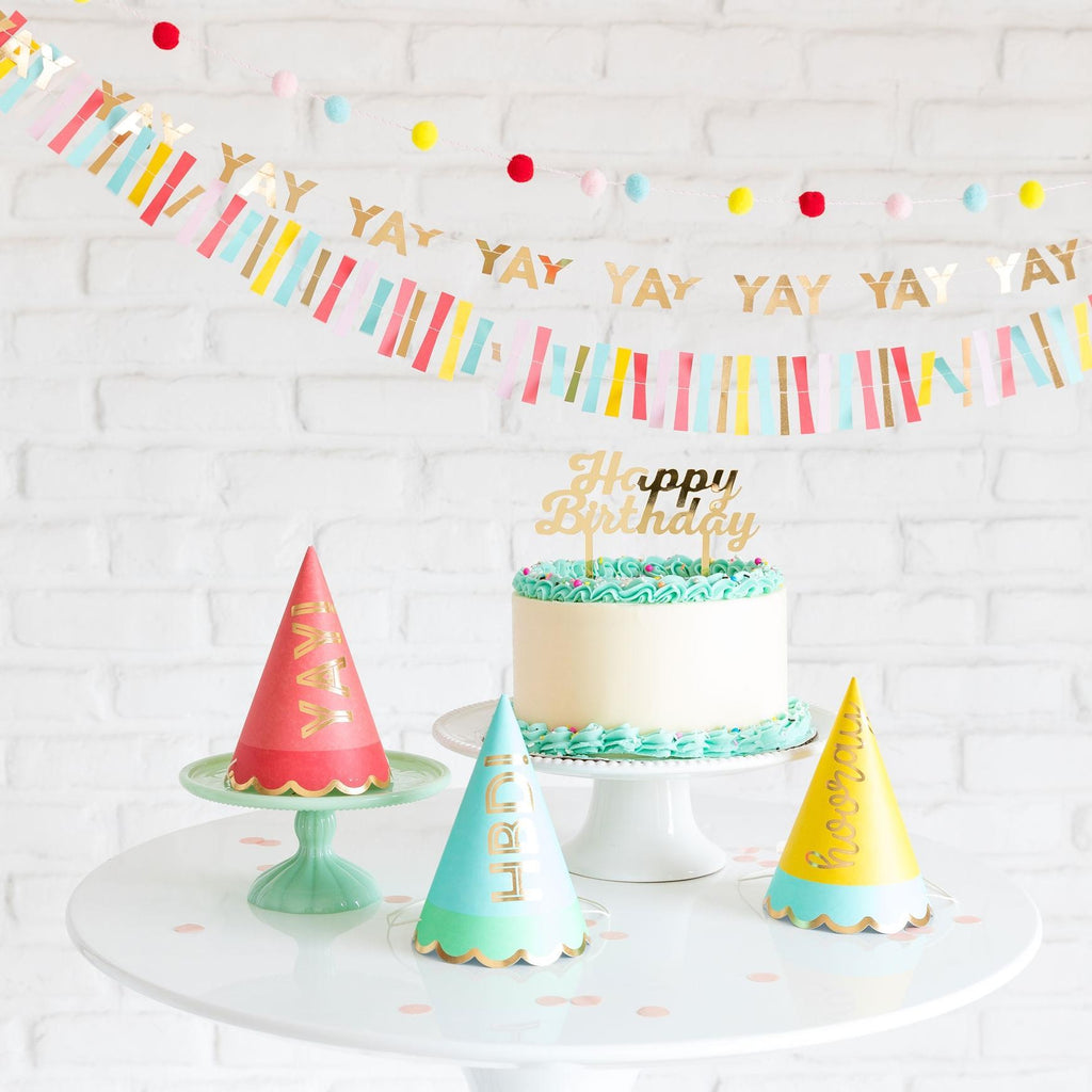 Hip Hip Hooray Party Hats set of 9