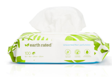 Earth Rated Grooming wipes unscented 100ct
