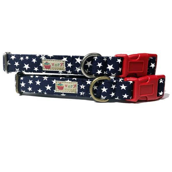 Very Vintage Star spangled Organic - Cat Breakaway collar