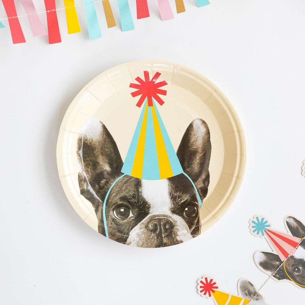 "Party Dog 7"" Plates set of 12"