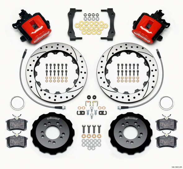 Wilwood Combination Parking Brake Rear Kit 12.88in Drilled Red 2013-Up Ford Focus ST w/ Lines