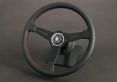 Nardi Classic Black Perf Leather/Red Stitching Steering Wheel - 360mm
