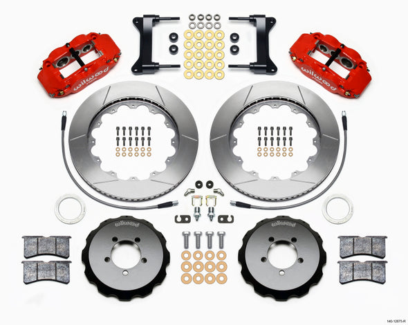 Wilwood Narrow Superlite 6R Front Hat Kit 14.00in Red 1999-2012 Subaru WRX w/Lines