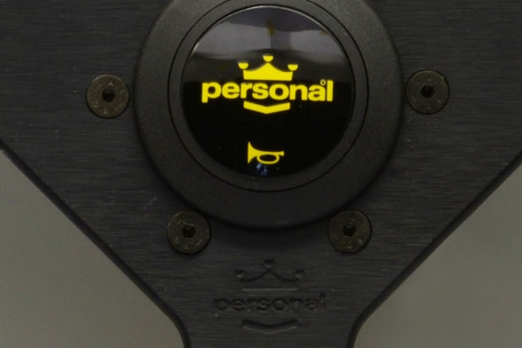 Personal Grinta Black Leather/Yellow Stitch - 350mm