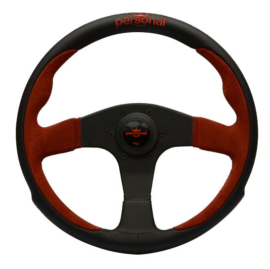 Personal Pole Position Black/Red Leather - 350mm
