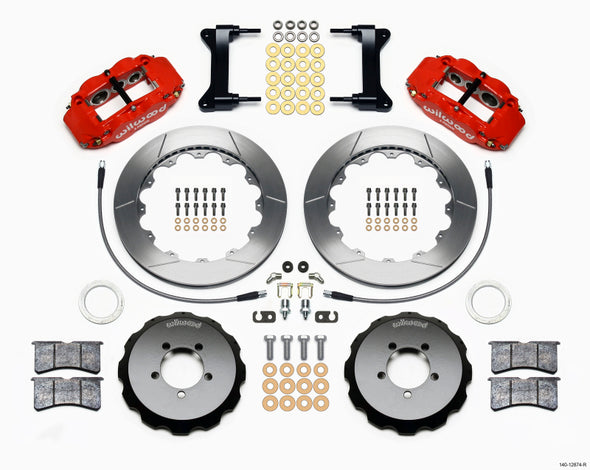 Wilwood Narrow Superlite 6R Front Hat Kit 13.06in Red 1999-2012 Subaru WRX w/Lines